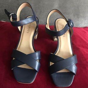 Talbots Navy Leather Sandals NWOT sz 7.5